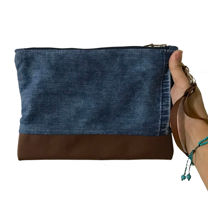 Marianna Repurposed Denim & Leather Zippered Wristlet - 1820 Bag Co.