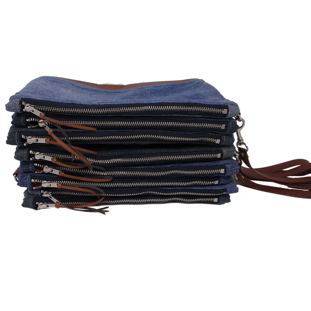 Marianna Repurposed Denim & Leather Zippered Wristlet
