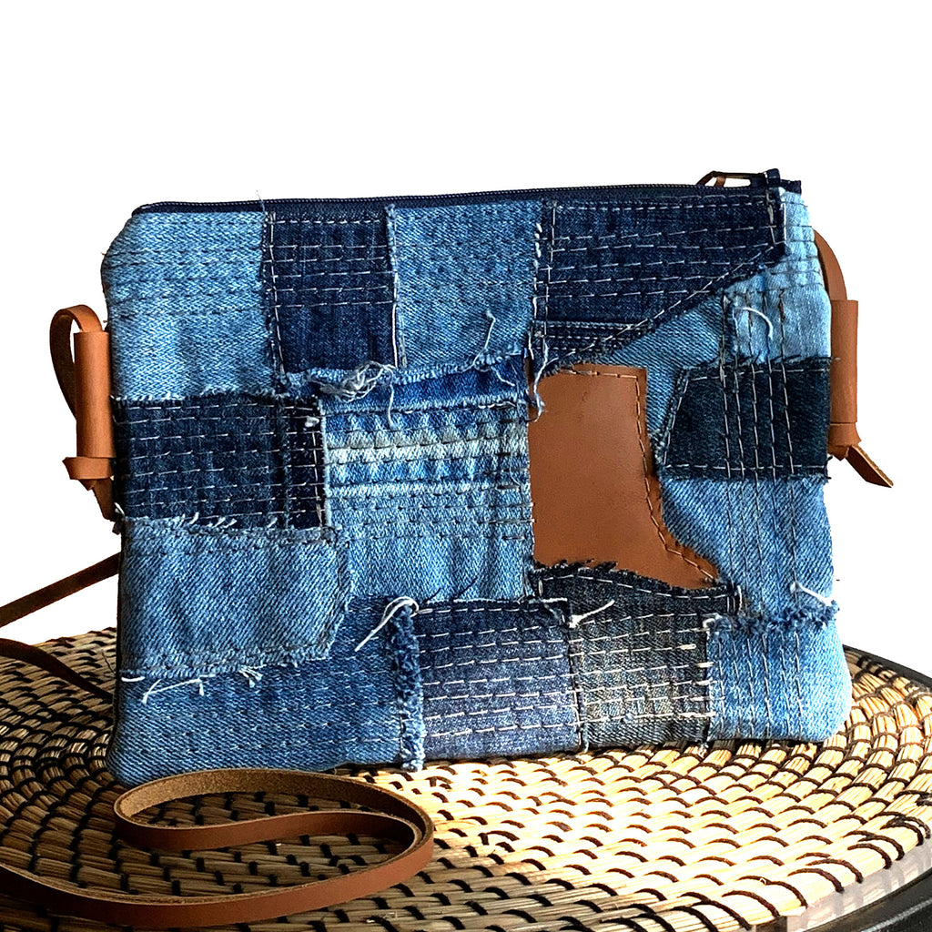Juno Repurposed Denim & Leather Zippered Crossbody - 1820 Bag Co.