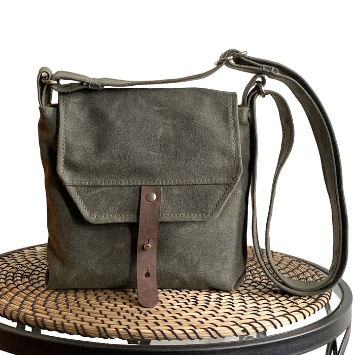 Hobe Satchel Waxed Canvas Bag - Green - 1820 Bag Co.