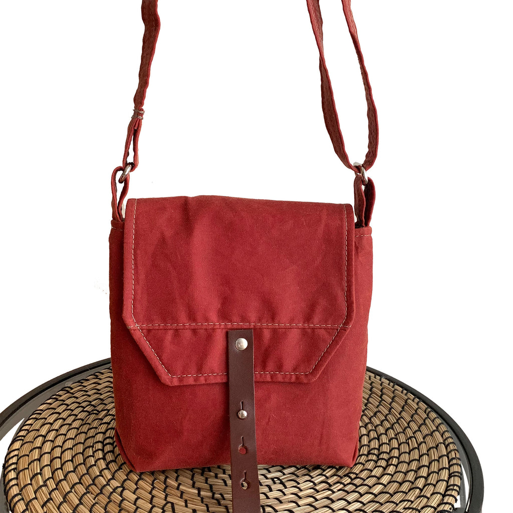 Hobe Satchel Sailcloth Waxed Canvas Bag - Red - 1820 Bag Co.