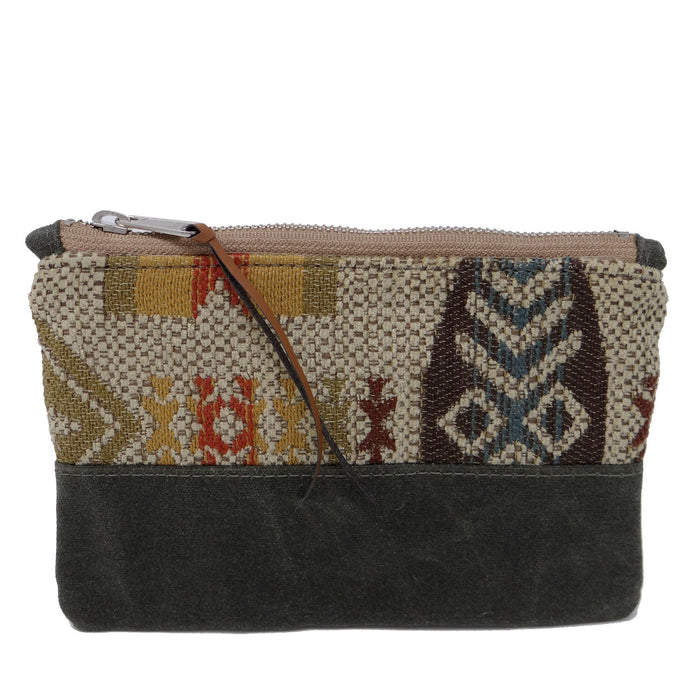 Venice Waxed Canvas Zipper Pouch - Green and Beige Chenille