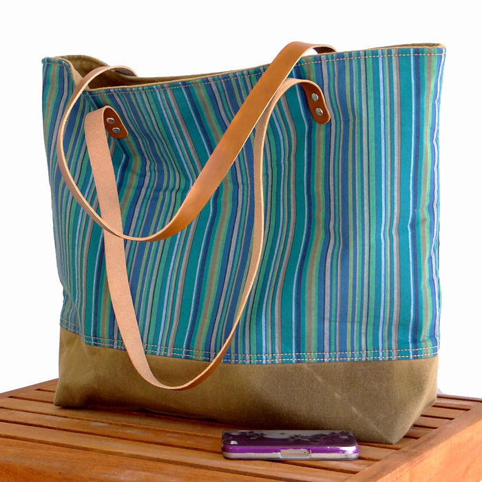 Striped Beach Tote - Blues, Green, Beige & Brown Leather Straps - 1820 Bag Co.