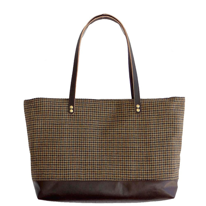 Leather & Wool Tote - Espresso Leather, Blue and Brown Houndstooth - 1820 Bag Co.