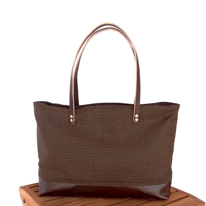 Leather & Wool Tote - Espresso Leather Dark Brown Houndstooth - 1820 Bag Co.