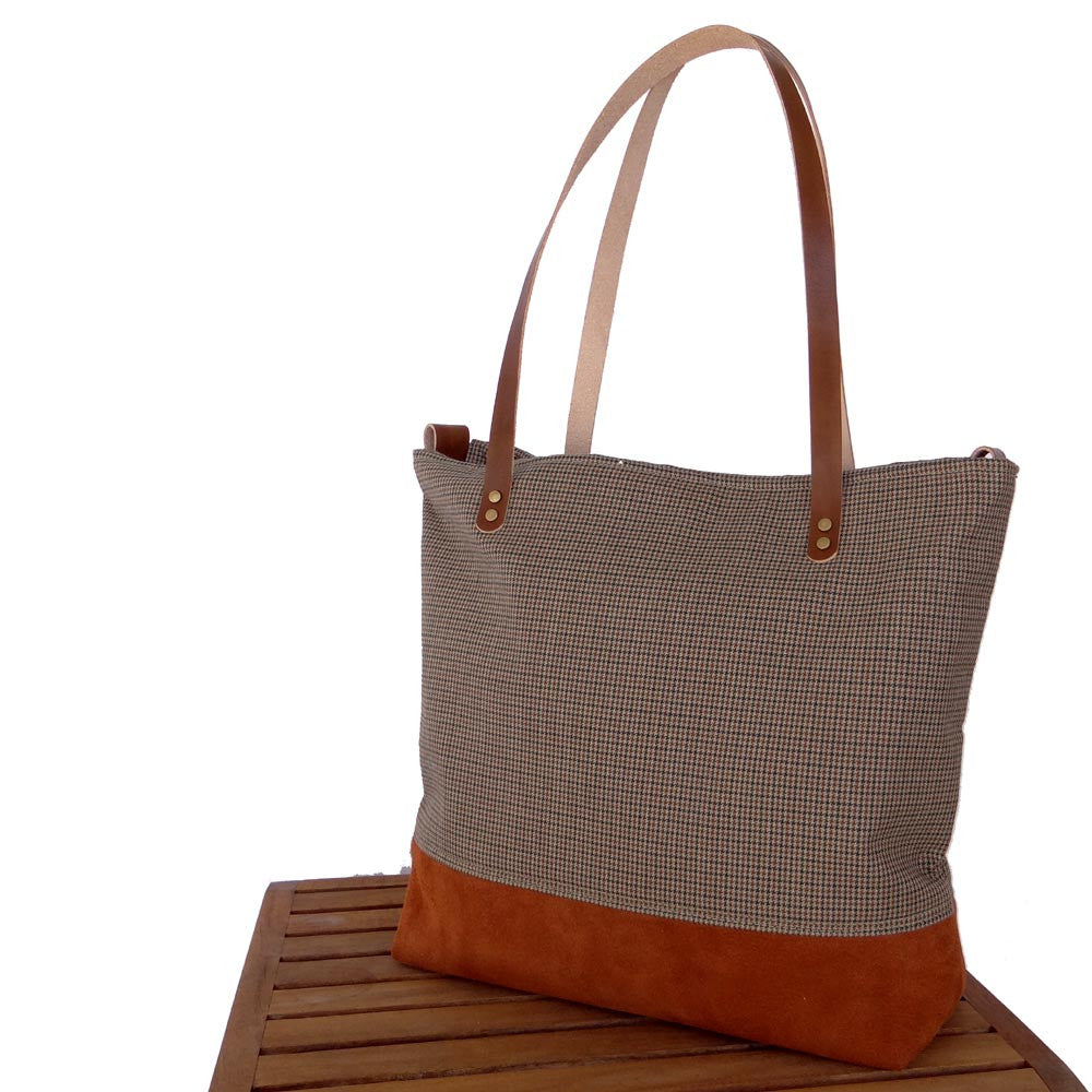 Suede Leather and Wool Tote Bag - 1820 Bag Co.