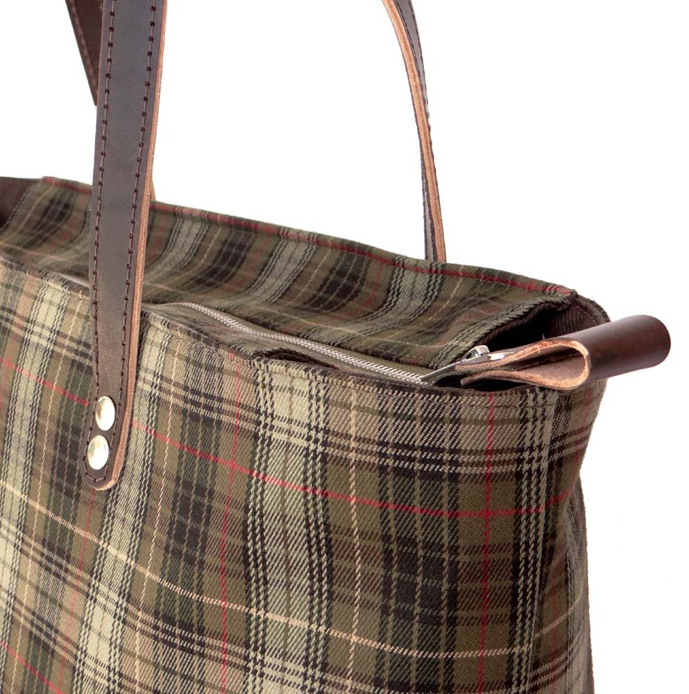 Espresso Brown Leather & Tartan Plaid Tote - Green Wool and Leather - 1820 Bag Co.