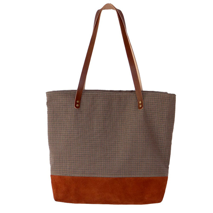 Suede Leather Tote, Suede Leather Shoulder Bag, Orange Suede Tote - 1820 Bag Co.