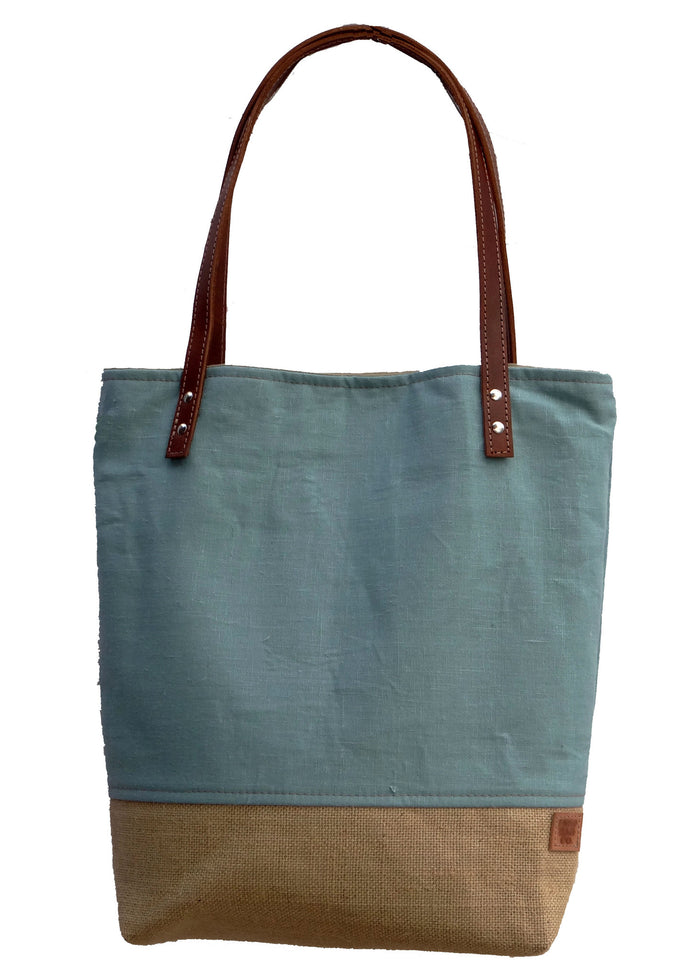 Panama Linen and Burlap Tote Bag - Blue and Beige - 1820 Bag Co.