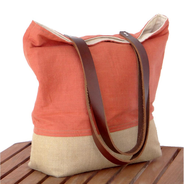 Orange Market Tote - Linen, Burlap, & Leather Handles - 1820 Bag Co.