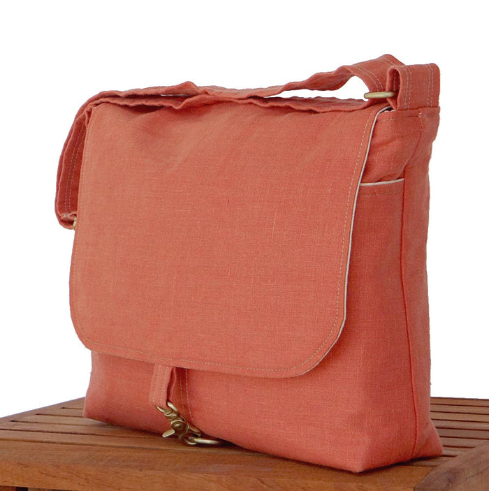 Nectarine Orange Messenger Bag - 17 inch Laptop Bag - 1820 Bag Co.
