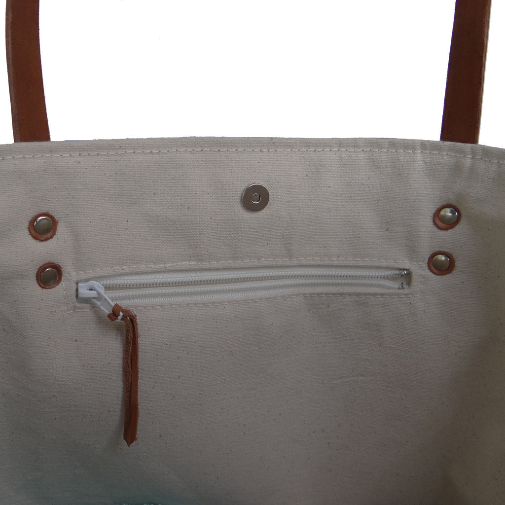 Panama Linen and Burlap Large Tote Bag - Blue and Beige - 1820 Bag Co.
