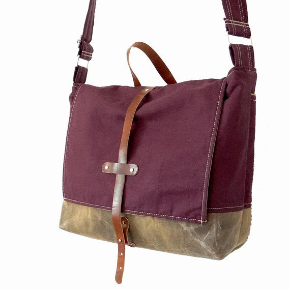 Purple Hemp & Waxed Canvas Messenger Bag - 1820 Bag Co.