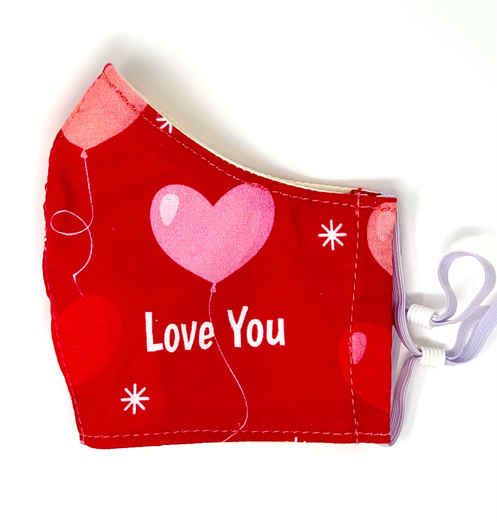 Valentine's Simple Face Mask - Cotton Reusable with Adjustable Ear Loops