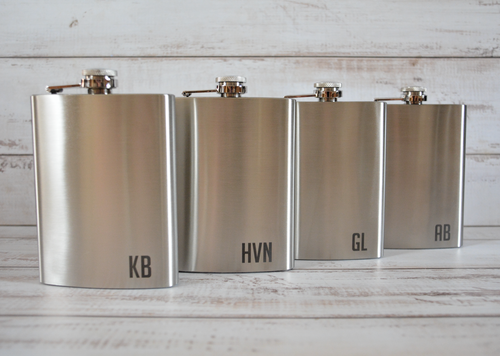 ENGRAVED SILVER HIP FLASK 225ML