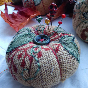 Pumpkin pincushion russet and natural colourway