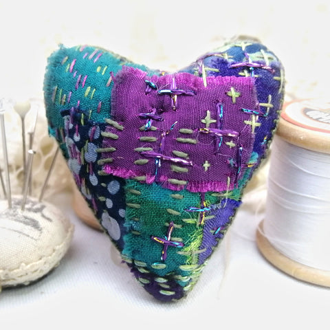 Stitchy Patchwork Heart Brooch