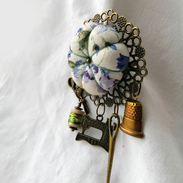 Chatelaine Sewing Brooch - Violets