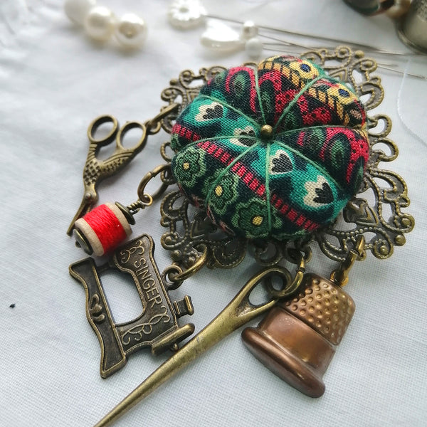 Chatelaine Pincushion Brooch - Flower Stripes