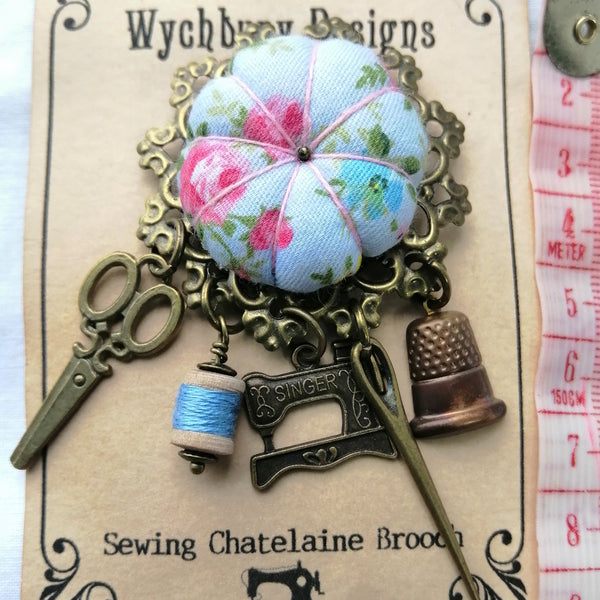 Chatelaine Sewing Brooch - Vintage Rose