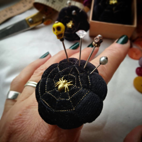 Spider and Web. Black Velvet Pincushion Ring