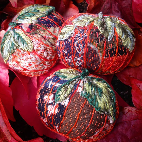 Embroidered Pumpkin Brooches