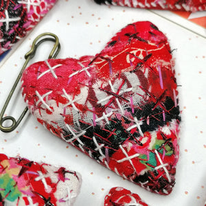 Stitched Heart Fob Brooch