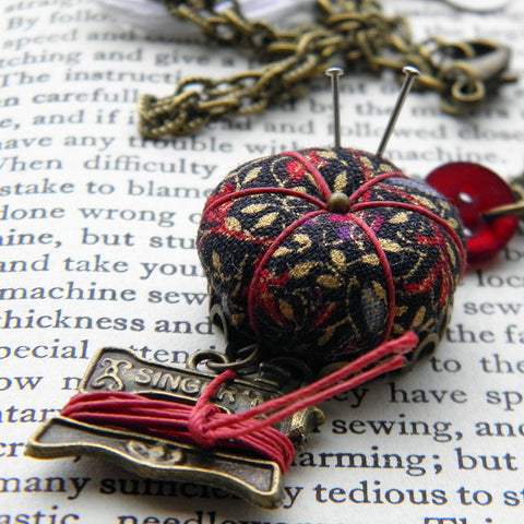 Sewing Necklace with a Tiny Pincushion and Thread Winder