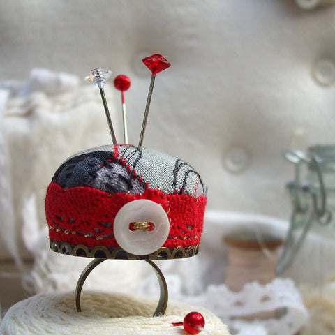 Patchwork Pincushion Ring, Red,Grey and Black