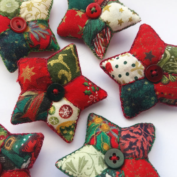 Little Christmas Stars - Patchwork Brooches