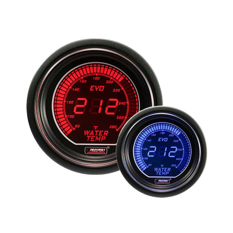 Prosport - EVO Series - 52mm Electrical  Water Temperature Gauge - Red / Blue