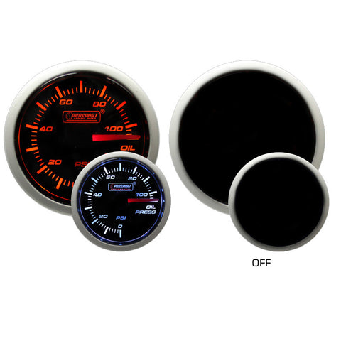 Prosport - 52mm Electrical Oil Pressure Gauge - Amber / White - F-PRS-216BFWAOPSM.PSI