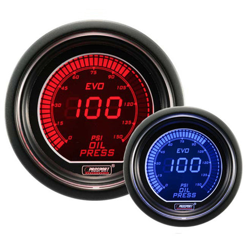 F-PRS-216EVOOP - Prosport - EVO Series - 52mm Oil Pressure Gauge - Red / Blue