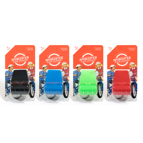 Four Spokesters in packaging. One each of black, blue, green, and red.