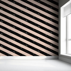 Diagonal Marble Wallpaper - Black And Pink