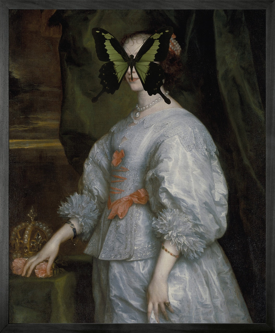 Portrait of Black and Green Butterfly on Lady