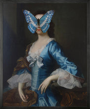 Portrait of Blue and White Butterfly on Lady