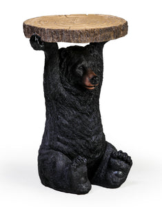 Black Bear Side Table Holding Trunk Slice