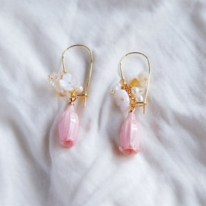Bell Flower Resin Hoop Earrings - Pink