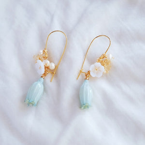 Bell Flower Resin Hoop Earrings - Mint, Earrings - Blaack Fox