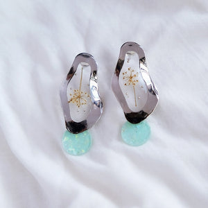 Queen Anne's Lace -  Mint Drop - Silver, Earrings - Blaack Fox