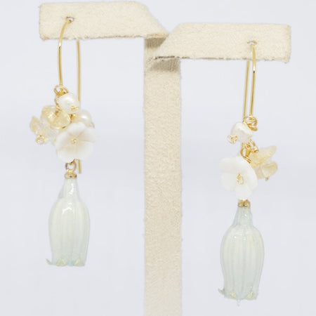 Bell Flower Resin Hoop Earrings - Mint