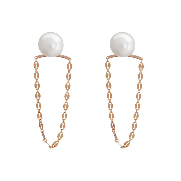 Pearly Swing Earrings - Rose Gold