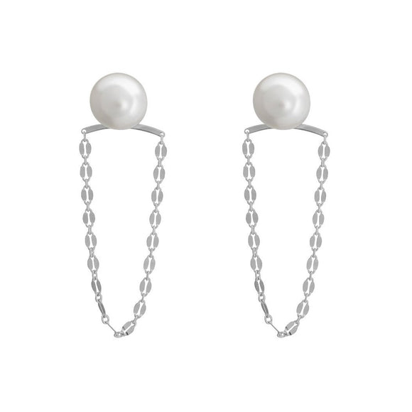 Pearly Swing Earrings - Silver