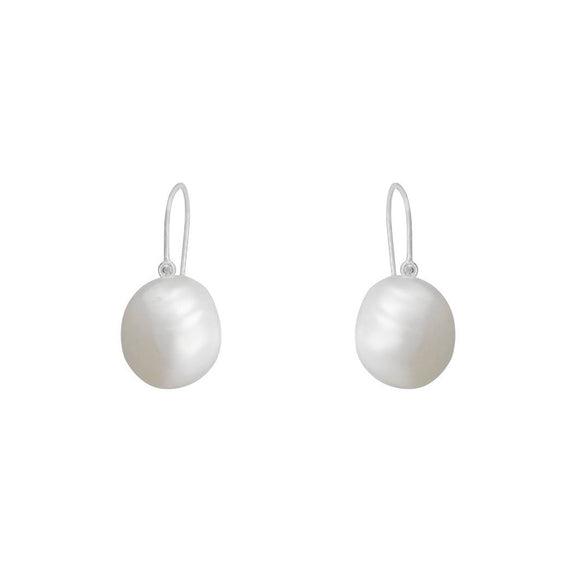 Song Pearl Drop Earrings - Silver