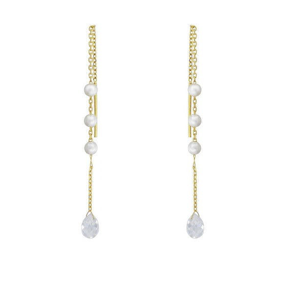 Cubic Pearl Pull Through Earrings - Gold