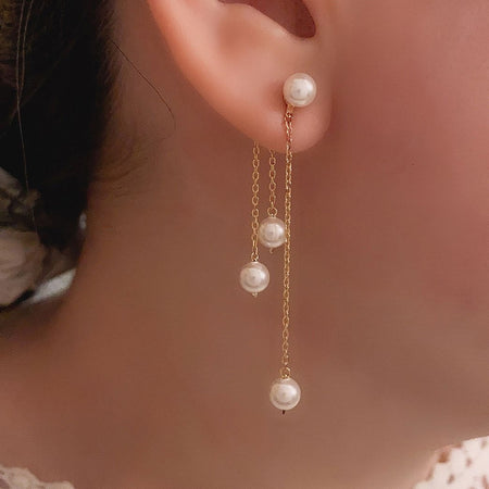 Aurora Pearl Swing Earrings - Gold
