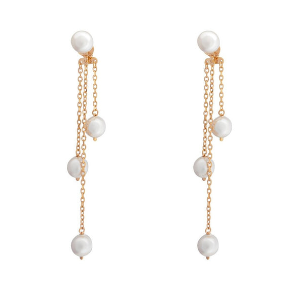 Aurora Pearl Swing Earrings - Rose Gold