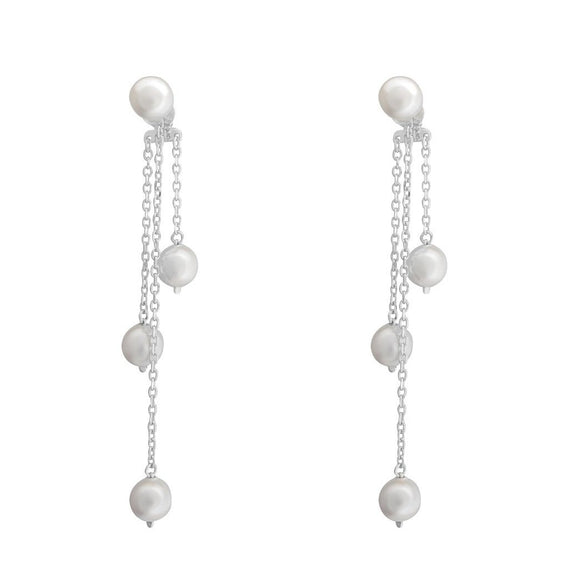 Aurora Pearl Swing Earrings - Silver