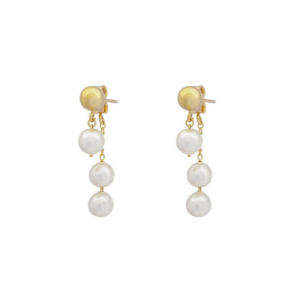 Whisper Pearl Swing Earrings - Gold